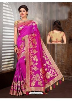 Pink Two Tone Art Silk Saree