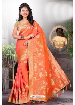 Light Orange Two Tone Art Silk Saree