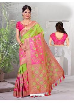 Parrot Green Two Tone Art Silk Saree