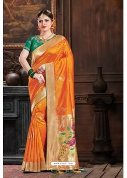 Orange Two Tone Art Silk Saree