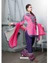 Pink And Navy BLue Cotton Jacquard Punjabi Patiala Suit