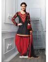 Red And Black Cotton Jacquard Punjabi Patiala Suit
