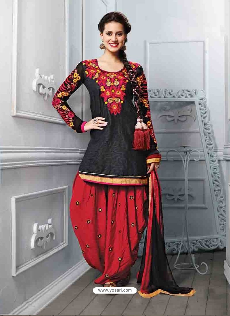4e54051464 Red And Black Cotton Jacquard Punjabi Patiala Suit | Punjabi Patiala ...