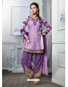 Purple Cotton Jacquard Punjabi Patiala Suit