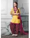 Mustard Cotton Jacquard Punjabi Patiala Suit