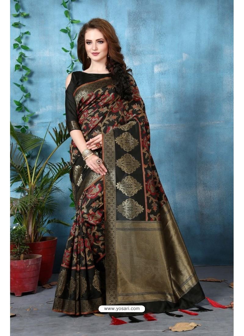 55d2d87e84 Buy Black Banarasi Silk Saree | Party Wear Sarees