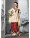 Maroon And White Cotton Jacquard Punjabi Patiala Suit