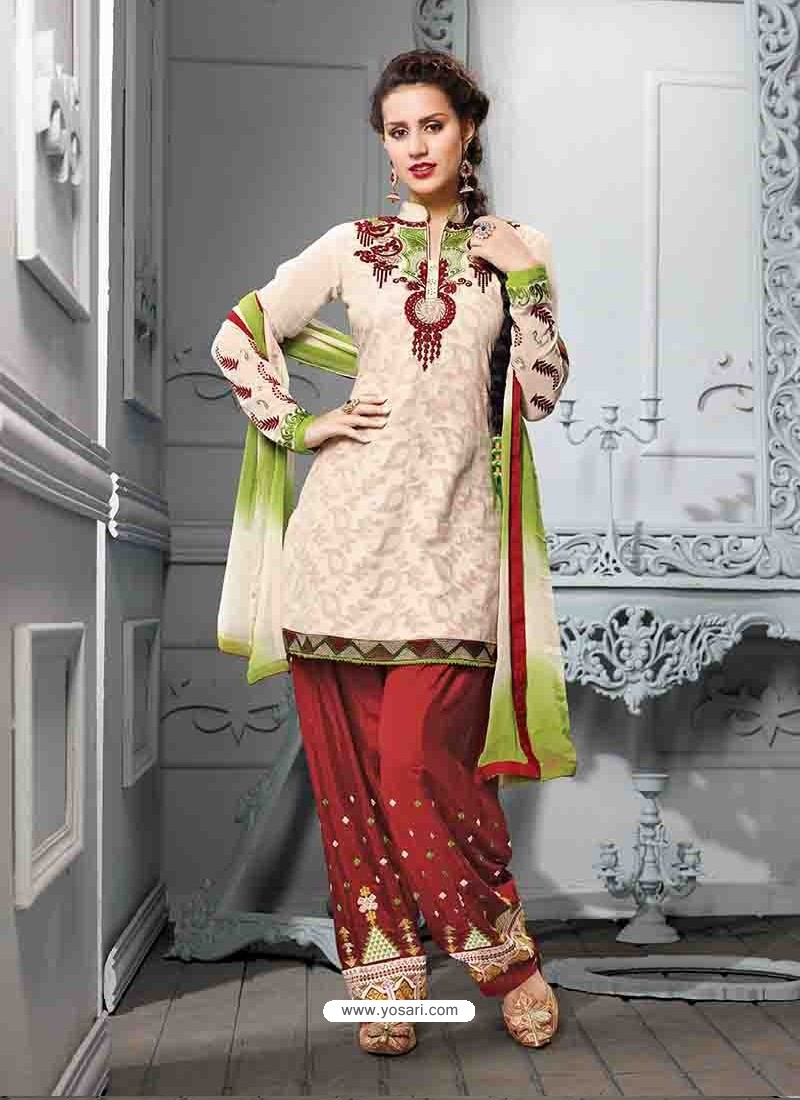Maroon And White Cotton Jacquard Punjabi Patiala Suit