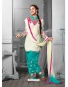 White And Sky Blue Cotton Jacquard Punjabi Patiala Suit