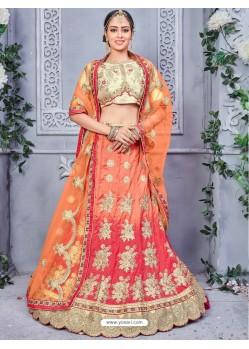 Peach Banarasi Silk Embroidered Lehenga Choli