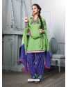 Green And Blue Cotton Jacquard Punjabi Patiala Suit