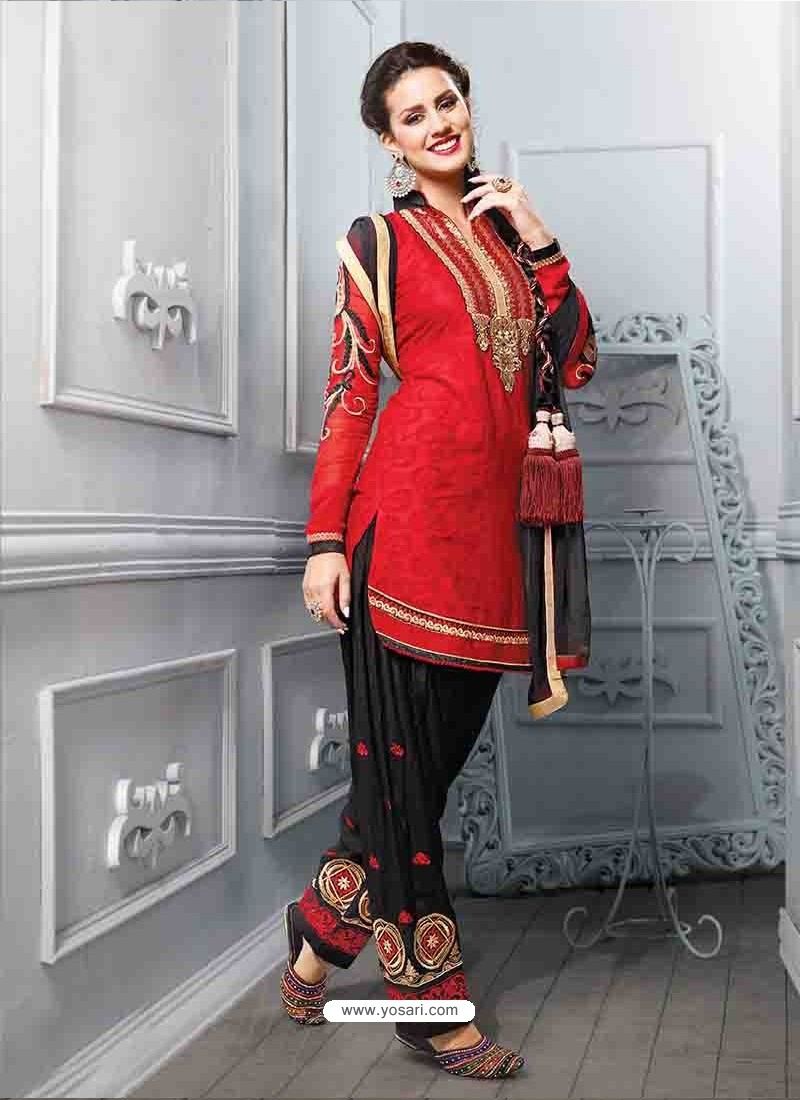 Red And Black Cotton Jacquard Punjabi Patiala Suit