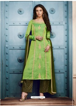 Parrot Green Silk Embroidered Suit