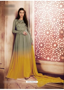 Grey Georgette Embroidered Floor Length Suit