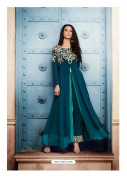 Tealblue Georgette Embroidered Floor Length Suit