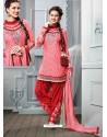Pink And Red Cotton Jacquard Punjabi Patiala Suit
