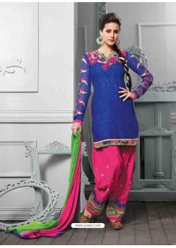 Blue And Pink Cotton Jacquard Punjabi Patiala Suit