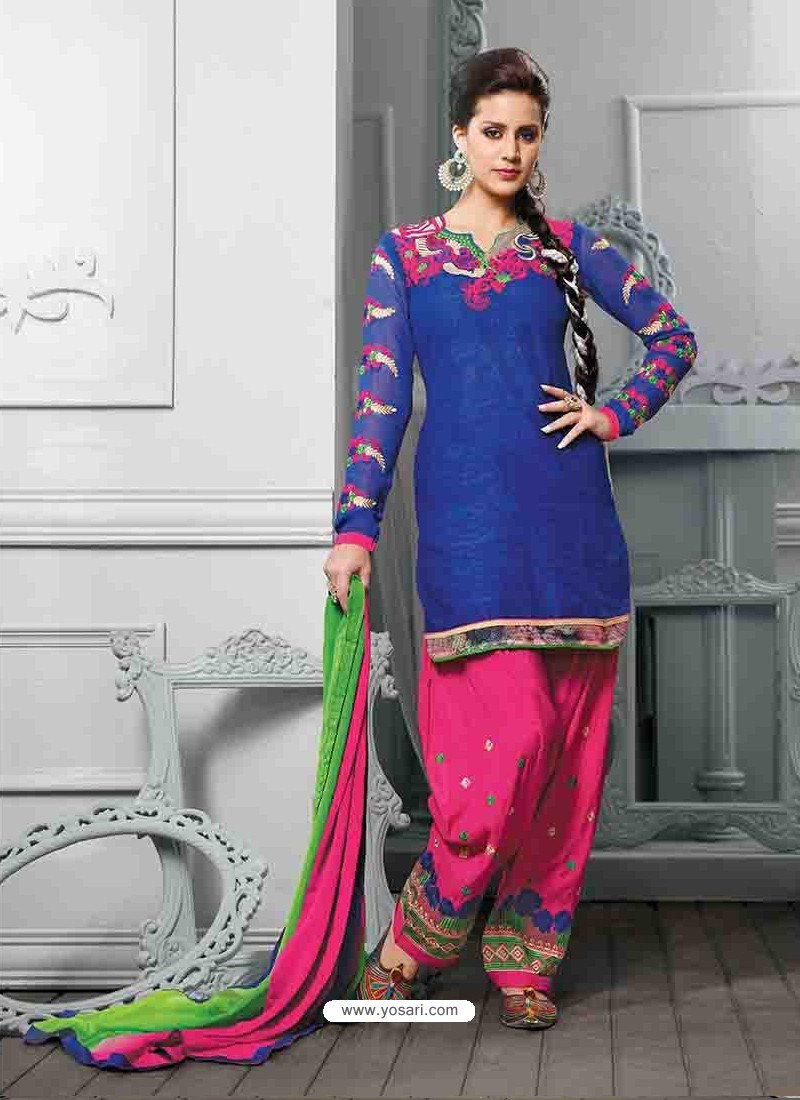 Blue And Pink Cotton Jacquard Punjabi Patiala Suit