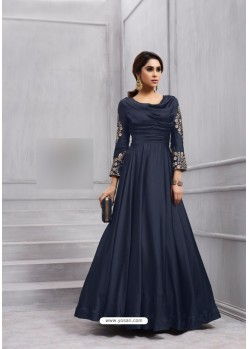 Navy Blue Fobi Silk Embroidered Floor Length Suit