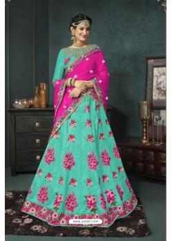 Aqua Blue Banarasi Silk Lehenga Style Saree