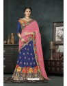Blue Banarasi Silk Lehenga Style Saree