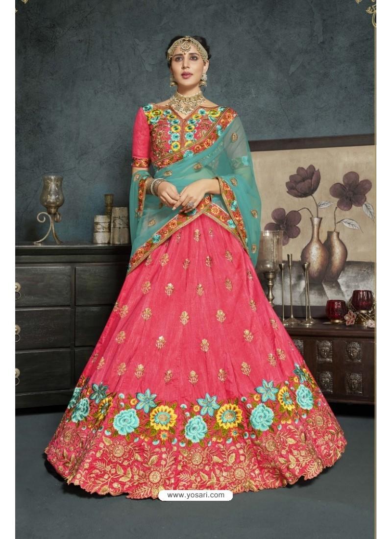 Peach Banarasi Silk Lehenga Style Saree