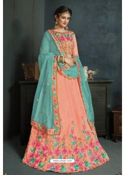 Baby Pink Banarasi Silk Lehenga Style Saree