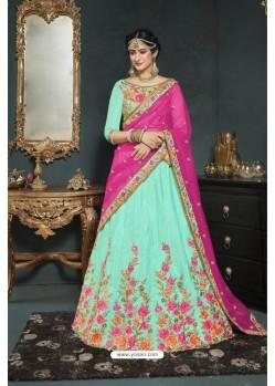 Aqua Mint Banarasi Silk Lehenga Style Saree