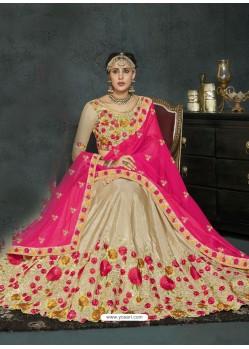 Beige Banarasi Silk Lehenga Style Saree