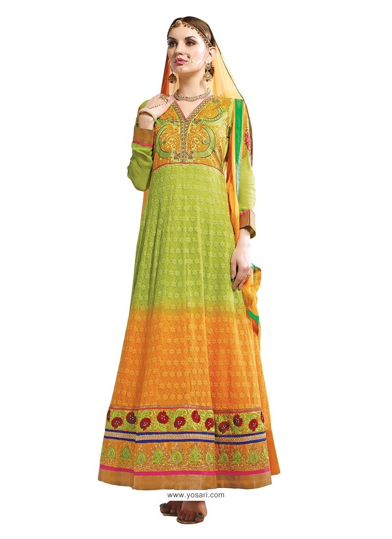 Green And Orange Hand Embroidery Work Anarkali Suit