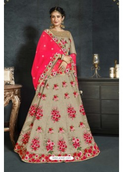 Taupe Banarasi Silk Lehenga Style Saree