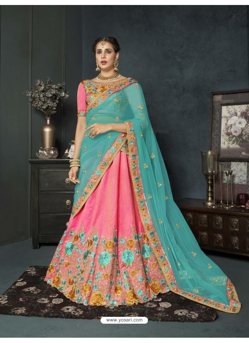 Pink Banarasi Silk Lehenga Style Saree
