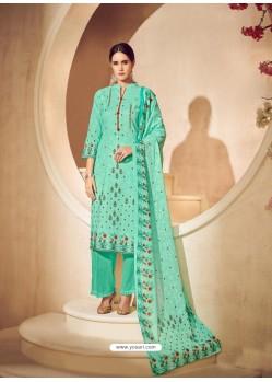 Jade Green Cotton Digital Printed Suit