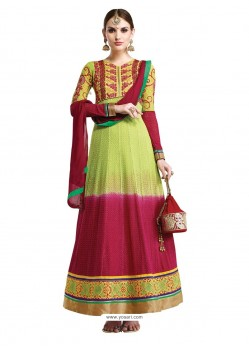Multicolor Hand Embroidery Work Anarkali Suit