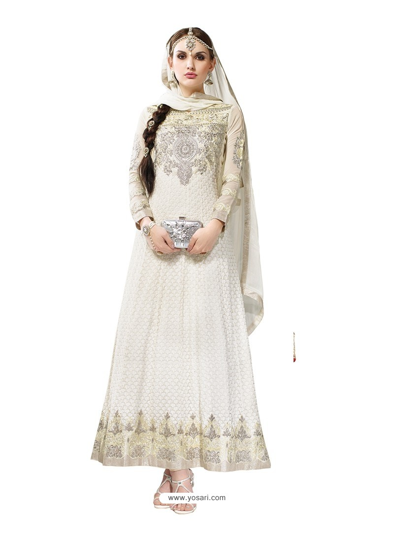 Off White Hand Embroidery Work Anarkali Suit