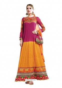 Pink And Mustard Hand Embroidery Work Anarkali Suit