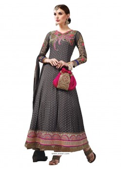 Grey Hand Embroidery Work Anarkali Suit