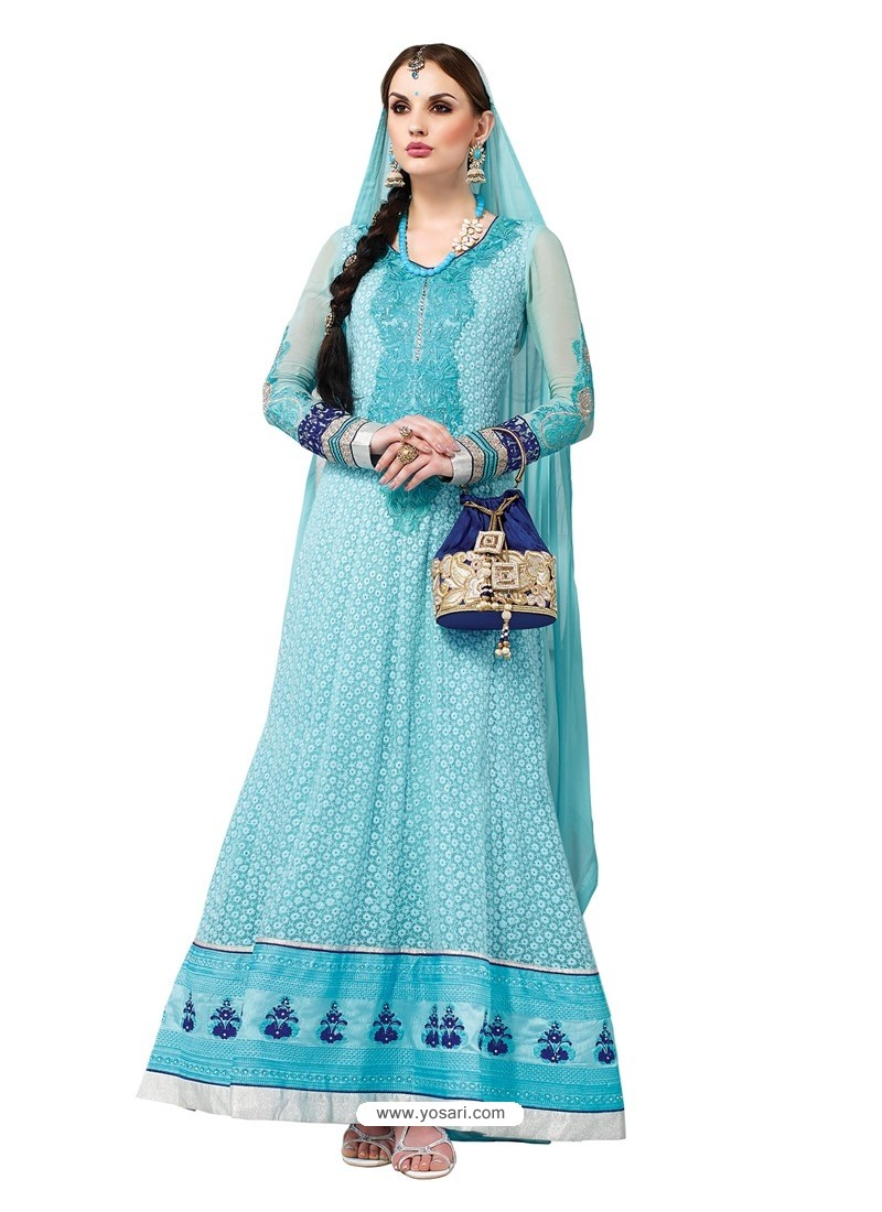 Sky Blue Hand Embroidery Work Anarkali Suit