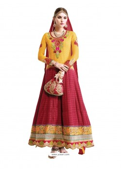 Maroon And Mustard Hand Embroidery Work Anarkali Suit
