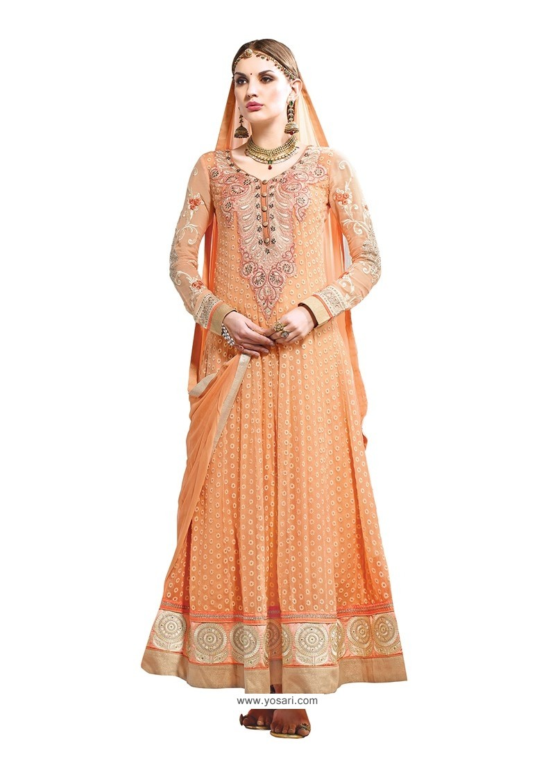 Peach Hand Embroidery Work Anarkali Suit