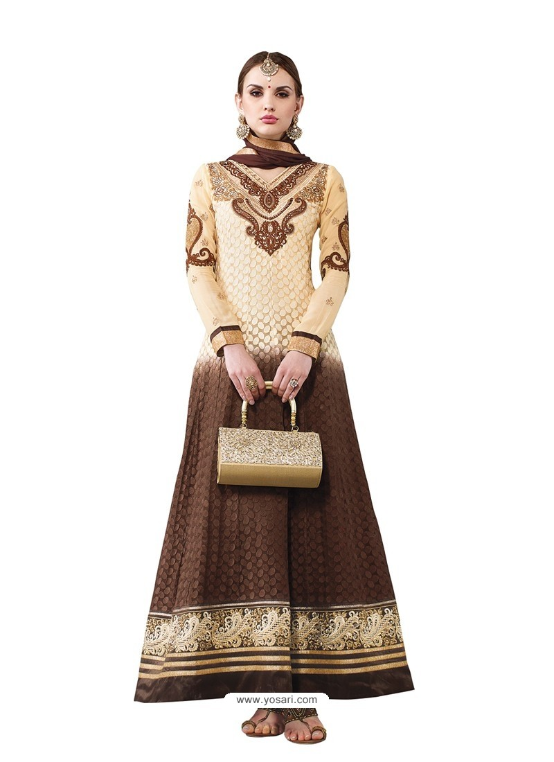 Off White And Brown Hand Embroidery Work Anarkali Suit