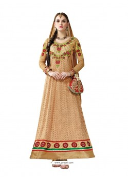 Cream Hand Embroidery Work Anarkali Suit