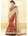 Cream And Red Shimmer Georgette Half And Half Saree