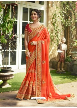 Orange Satin Embroidered Saree
