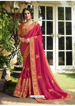 Fuchsia Satin Embroidered Saree