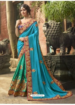Turquoise Tussar Silk Embroidered Saree
