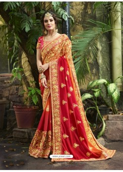 Red Chiffon Georgette Embroidered Saree