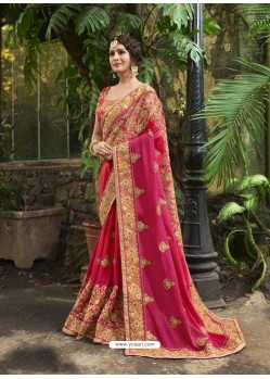Rani Chiffon Georgette Embroidered Saree