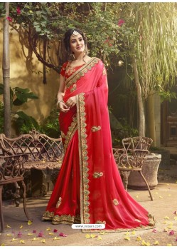 Red Satin Embroidered Saree