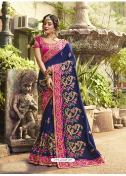 Blue Poly Silk Embroidered Saree